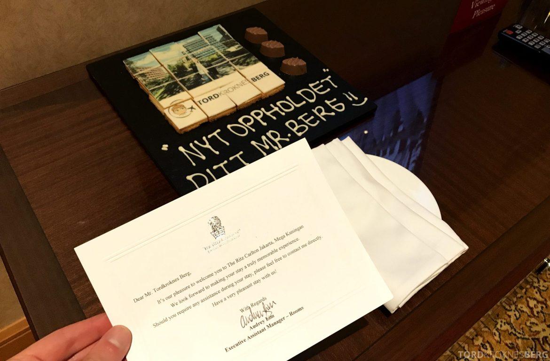 Ritz-Carlton Jakarta velkomstgave