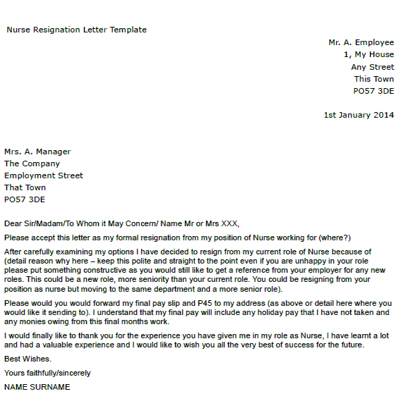 letter of resignation without notice