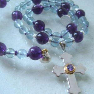 Kreuz mit Amethyst Steinkette 11
