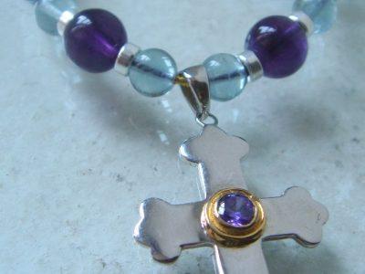 Kreuz mit Amethyst Steinkette 8