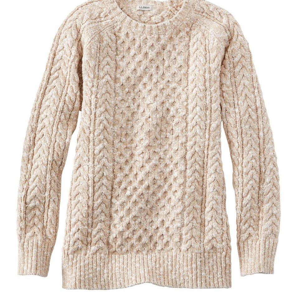 Women's Cotton Ragg Cable-Knit Crew-Neck Sweater