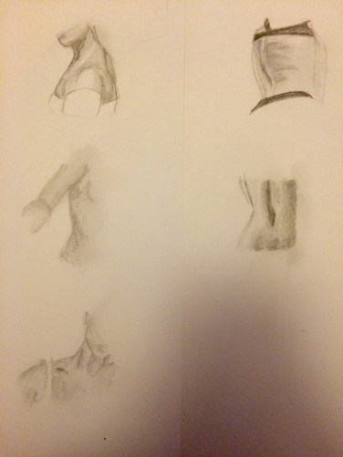 First sketches of 5 images of body.