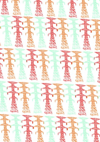 Telegraph pole print onto white
