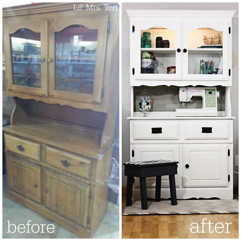 Craft Organization Cupboard Before and After - Lil Mrs. Tori