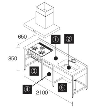 DIYキッチン2100I型食洗機プラン