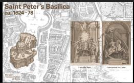 サン・ピエトロ大聖堂:後陣(アプス)のカテドラ・ペトリ(聖ペテロの椅子)とコンスタンティヌス帝の騎馬像