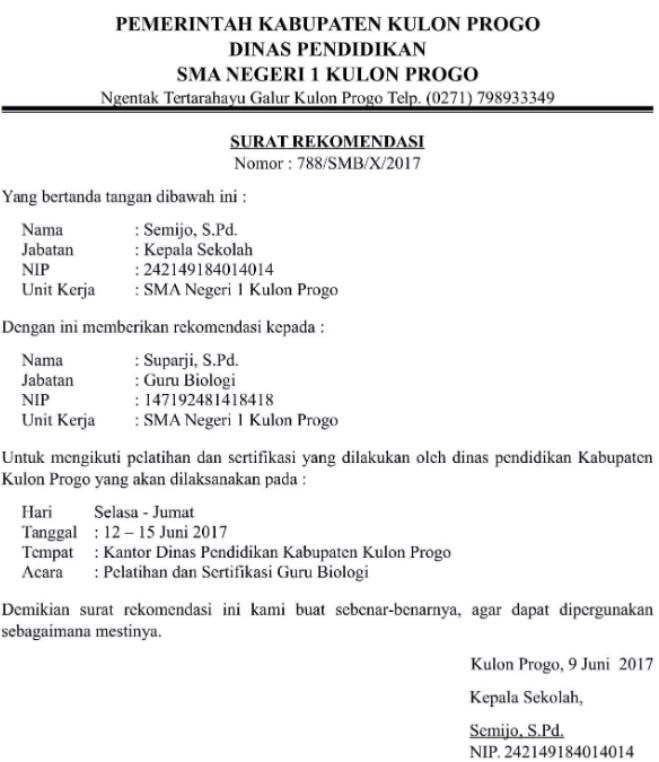 Surat Rekomendasi Beasiswa Dari Kepala Sekolah