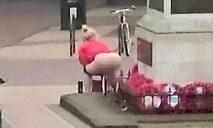 FILE PIC - Shocking picture of Kelly Martin urinating on a war memorial on the 100th anniversary of the battle of the Somme. See MASONS story MNWEE; Mother-of-five Kelly Martin to be sentenced at Basildon Magistrates Court for TWICE urinating on a war memorial - once on the 100th anniversary of the Somme.