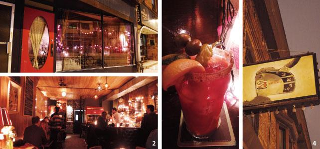 1.夜にひときわ目を引く赤いドア 2.ムーディーな雰囲気の店内 3.トマトベースのカクテル。ハバネロにオリーブにパンチが効いてとてもおいしい 。カクテル/$8~ 4.海がモチーフのお店。看板もなにやらおもしろい。
