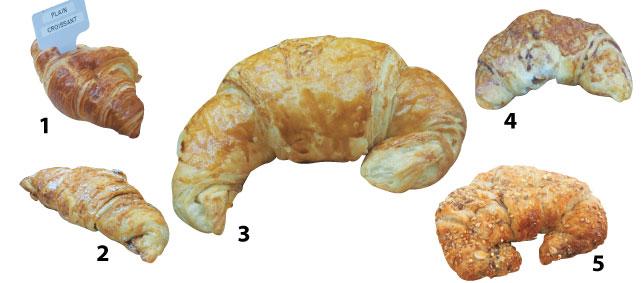 1. Plain Croissant - ごく普通のクロワッサンだがクロワッサンそのものの味が楽しめる。またサンドイッチにするにはもってこいで、甘いものでもしょっぱいものでもなんでもはさんで楽しめる。2. Butterscotch  Croissant - 少し珍しいバタースコッチのクロワッサン。甘いクロワッサンが食べたいけどチョコレートの気分じゃない時、新しいものに挑戦したいときにはぜひお試しあれ。3. Butter Croissant - バターのにおいが思わず食欲をそそるみんなが大好きなバタークロワッサン。すぐ食べるならお店で温めてもらうもよし、家で食べる場合は電子レンジか、オーブントースターで温めて。4. Cheese Croissant - カリカリのチェダーチーズが上にかかっているチーズクロワッサンはそのまま食べるのもいいが、ぜひサンドイッチにして食べてみていただきたい。オススメはツナサラダサンド。5. Multigrain Croissant - 数種類の雑穀が使われてできたクロワッサンはサクサクの食感だけでなく、上に乗った雑穀のプチプチ感が楽しめる。また、健康にもいいのでダイエット中の方もたまにはご褒美にどうぞ。