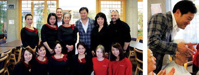 (左)資生堂カナダ社員とセミナーをサポートした美容スタッフの皆さん(右)お手入れを楽しむ社長の岡本さん