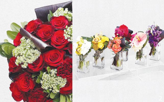 1 王道のバラの花束は鉢植えに活けてもらうことも可能 2 可愛らしいブーケPocket Posiesはちょっとしたプレゼントにも◎
