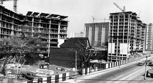 St. James Town apartment building complex being built. Photo by Browne. June 20, 1966. York University, Clara Thomas Archives and Special Collections, Toronto Telegram fonds, ASC52782.