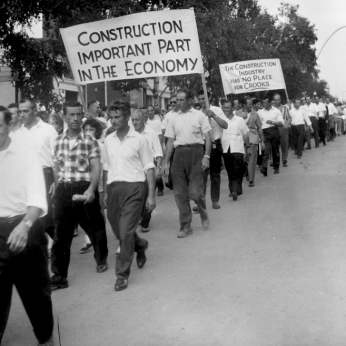 Brandon Union Group marching on Labour Day parade at the CNE. Archives of Ontario, Charles Irvine fonds C331-6.