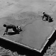 Cement finishers smoothing concrete slab on residential project at Rexleigh Drive after strikers threw bricks at it. July 24, 1961. York University Libraries, Clara Thomas Archives and Special Collections, Toronto Telegram fonds, ASC53020.