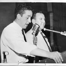 George Petta introducing Gerry Gallagher at the Lansdowne Theatre. Photographer unknown. 1961. Archives of Ontario, Charles Irvine fonds.