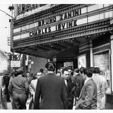 Lansdowne Theatre's marquee announcing Bruno Zanini and Charles Irvine. Photo by Cooper. York University Libraries, Clara Thomas Archives and Special Collections, Toronto Telegram fonds, ASC52955.