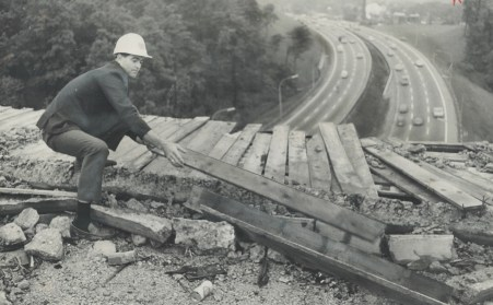 Norm Pike inspecting Leaside bridge widening project. Photo by Graham Bezant. August 1968. Toronto Reference Library, Baldwin Collection, Toronto Star Archives.