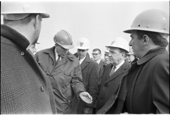 Norm Pike, Gerry Gallagher, and other inspecting a bridge building project on Gerrard Street. Photo by Bruce Reed. March 2, 1967. York University Libraries, Clara Thomas Archives and Special Collections, Toronto Telegram fonds, ASC52240.