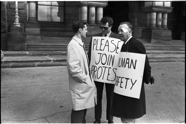 Norm Pike (middle) and Local 183 men picketing outside the Queen's Park Legislative building. Photo by Pete Gedes. April 10, 1967. York University Libraries, Clara Thomas Archives and Special Collections, Toronto Telegram fonds, ASC49235.