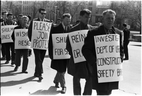 Norm Pike (third from left) and Local 183 men picketing outside the Queen's Park Legislative building. Photo by Pete Gedes. April 10, 1967. York University Libraries, Clara Thomas Archives and Special Collections, Toronto Telegram fonds, ASC49241.