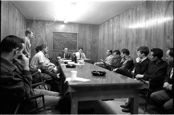 Local 183 board room with Gerry Gallagher and Norm Pike seated at the head of the table. Photo by Bruce Reed. June 27, 1968. York University Libraries, Clara Thomas Archives and Special Collections, Toronto Telegram fonds, ASC52935.