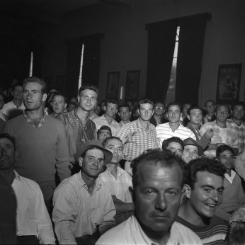 Italian construction workers at Brandon Hall. Photo by Madison Sale. August 2, 1960. York University Libraries, Clara Thomas Archives and Special Collections, Toronto Telegram fonds, ASC52265.