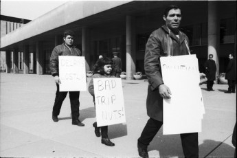 Local 183 protesters picketing on Nathan Phillips Square. Photo by Leo Harrison. April 6, 1970. York University Libraries, Clara Thomas Archives and Special Collections, Toronto Telegram fonds, ASC50511.
