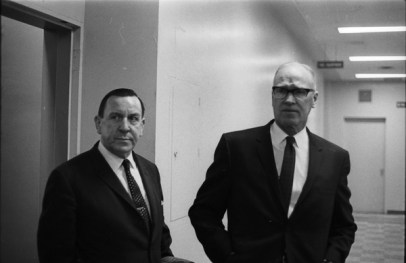 Gerry Gallagher meeting with Chief of Police James Mackey. Photo by Richard Cole. March 6, 1969. York University Libraries, Clara Thomas Archives and Special Collections, Toronto Telegram fonds, ASC58014.