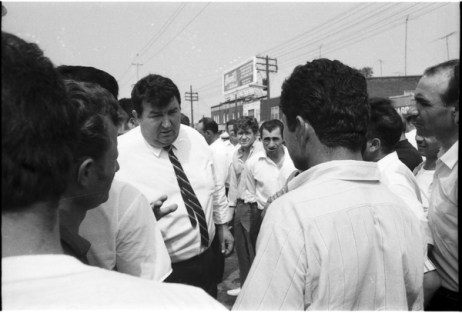 John D'Alimonte speaking to concrete forming union workers outside the York Centre Ballroom. Photo by Bruce Reed. September 1, 1969. York University, Clara Thomas Archives and Special Collections, Toronto Telegram fonds, ASC52212.