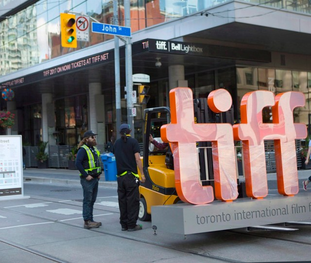 A Sign Bearing The Toronto International Film Festival Logo Sits On A Fork Lift As Preparations Are Made For The Festivals Opening Night On September 7