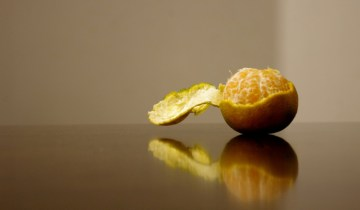 Half-peeled clementine