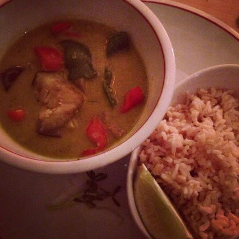 Green Curry Bowl with Brown Rice at the Harvest Kitchen Meatless Monday Tasting