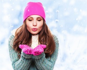 Winter woman Blowing Snow Background