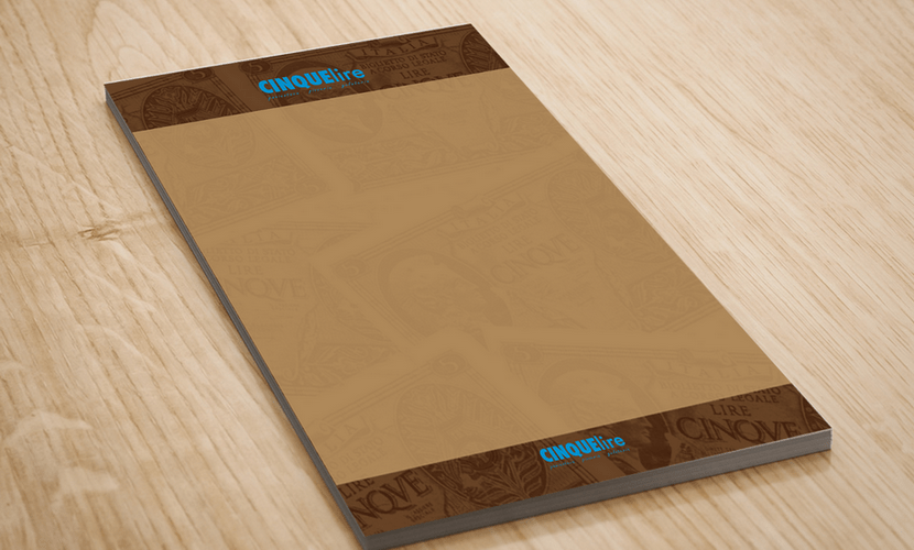 Letterhead & memo pad design & print for a restaurant