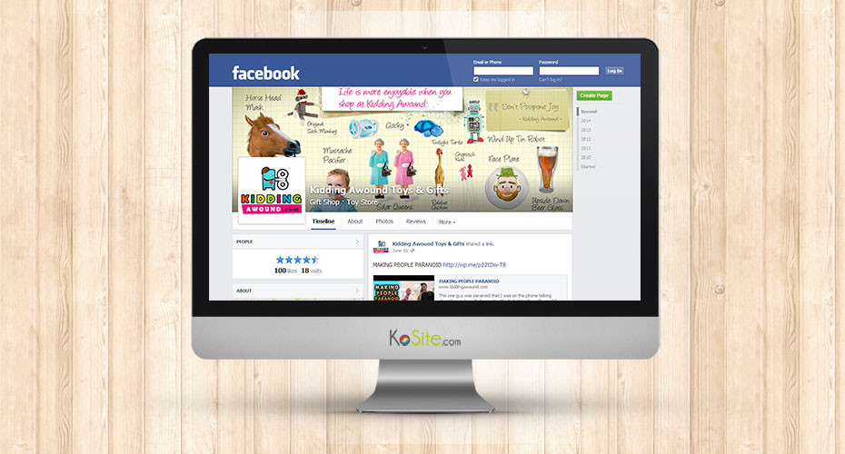 Facebook design for an online toy store