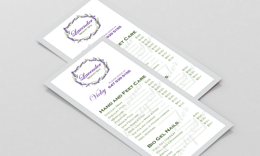 Flyer design & print for a spa