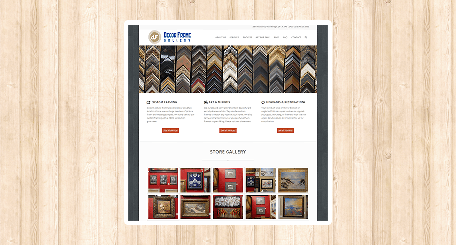 Responsive website for an art framing store