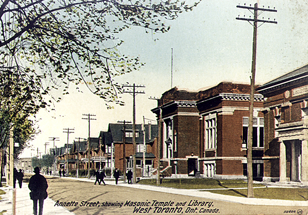 Annette Street showing Masonic Temple and Library, West Toronto