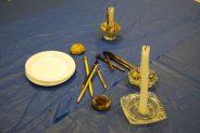 An assortment of tools used to make pysanka, or Ukrainian Easter eggs.