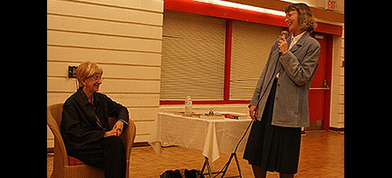 Scarborough novelist Rosemary Aubert looks on as Patricia Anaka, acting branch head of the Guildwood Library, concludes the book discussion that was part of Port Union Community and Recreation Centre's 25th anniversary celebration.