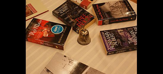 An array of books written by Scarborough writer Rosemary Aubert lies on a table for sale at Port Union Community and Recreation Centre's 25th anniversary celebration.