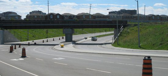 Finch bridge now: A new bridge has been added so that the railway tracks now pass over the road.