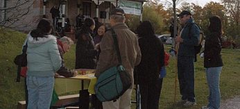Participants sign up for the Eco Exploration event in front of the Rouge Valley Conservation Centre. The event, organized by the Rouge Valley Conservation Centre, took place Oct. 17.
