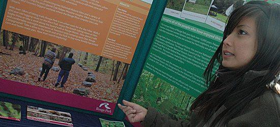 Sheryl Santos, stewardship co-ordinator for Rouge Park, stands in front of her eco station.