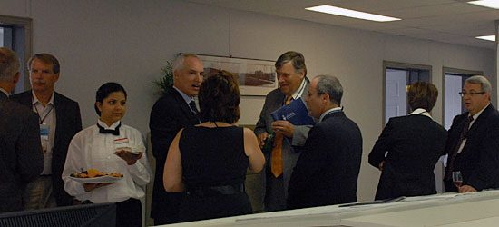 Politicians and University of Toronto management mingle with developers before the official groundbreaking ceremony.