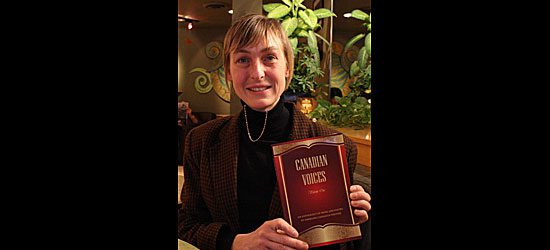 Scarborough's own Kathleen Betts poses proudly with Canadian Voices: Vol. 1.