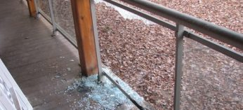 A section of glass was shattered on the back porch of the Maha Vihara Buddhist Meditation Centre.