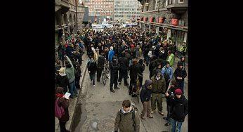 Protesters in the Copenhagen city centre demanding a better climate deal.