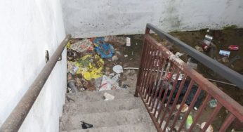 A trash filled stairwell at 217 Morningside Ave.